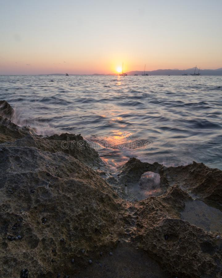 Sunset over sea royalty free stock photos