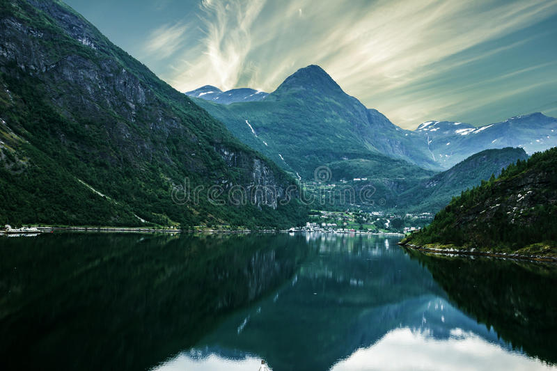 Sunset over sea and mountain, Norway fjords.  stock images