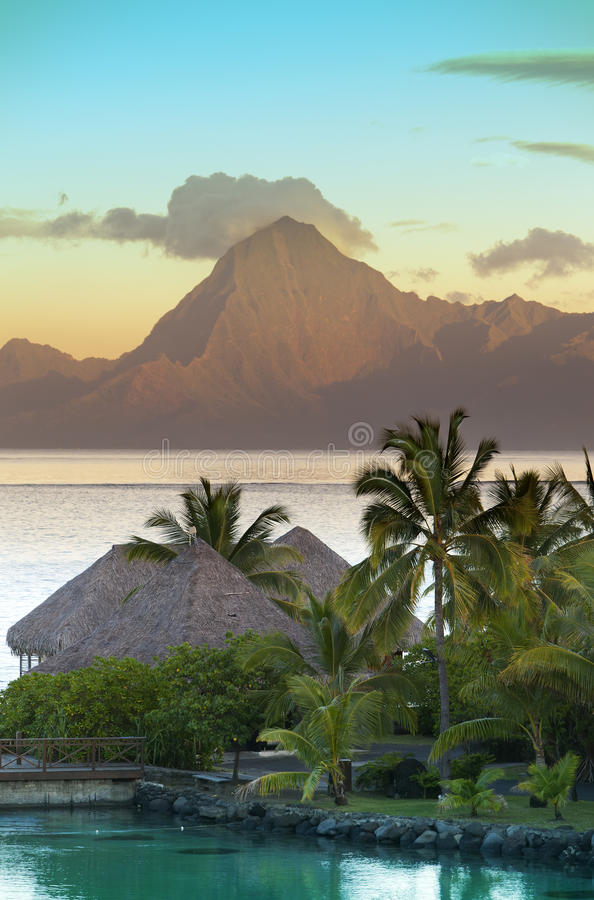 Sunset over the sea and mountains, Tahiti stock images