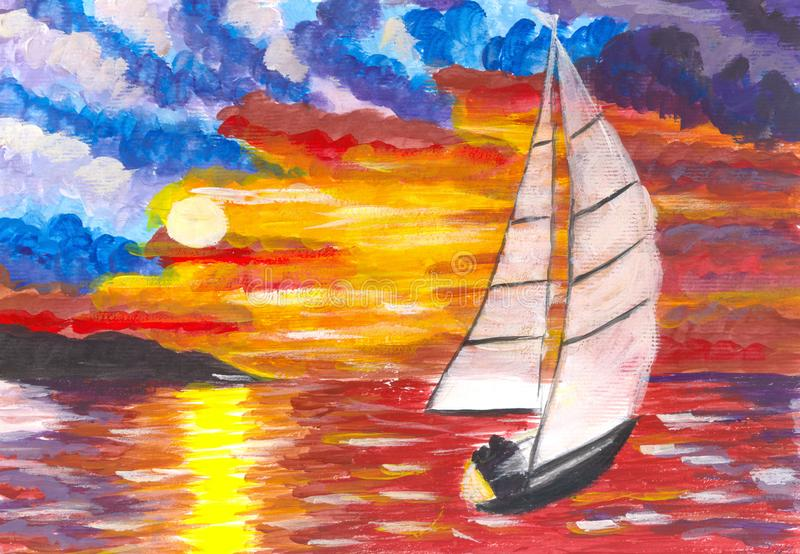 Sunset over the sea and sailboat. Modern art stock illustration