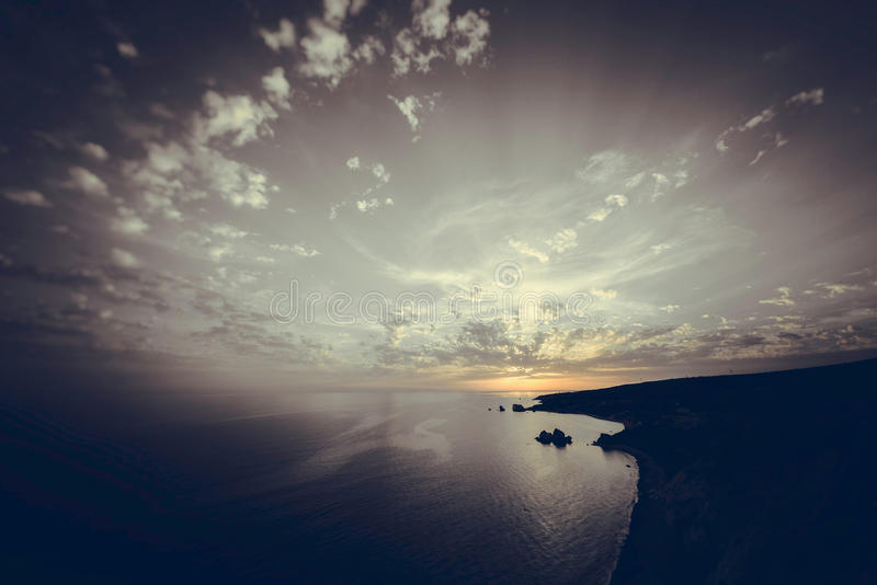 Sunset over the sea. Toned photo stock images
