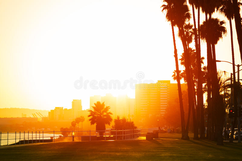 Sunset over the seafront of Long Beach, California royalty free stock image