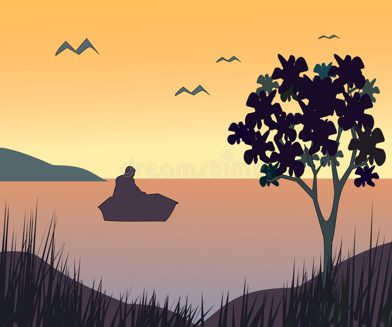 Sunset over Seascape vector illustration