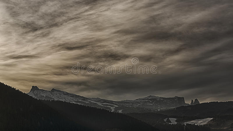 Download Sunset Over Seiser Alm Stock Photo - Image: 83710493
