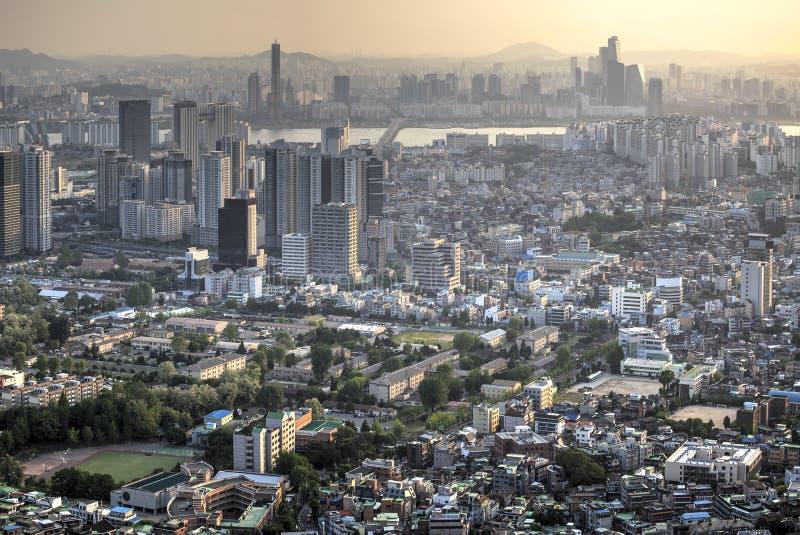 Sunset over Seoul city royalty free stock photos
