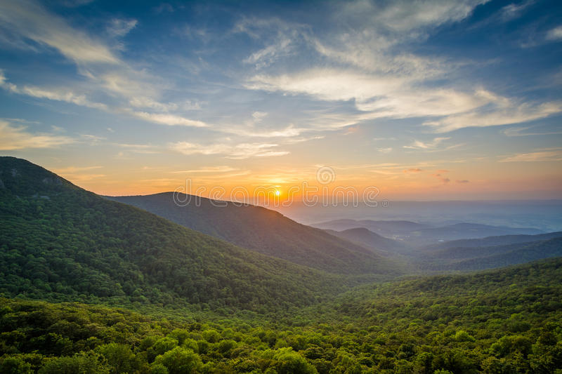 Sunset over the Shenandoah Valley and Blue Ridge Mountains from royalty free stock images