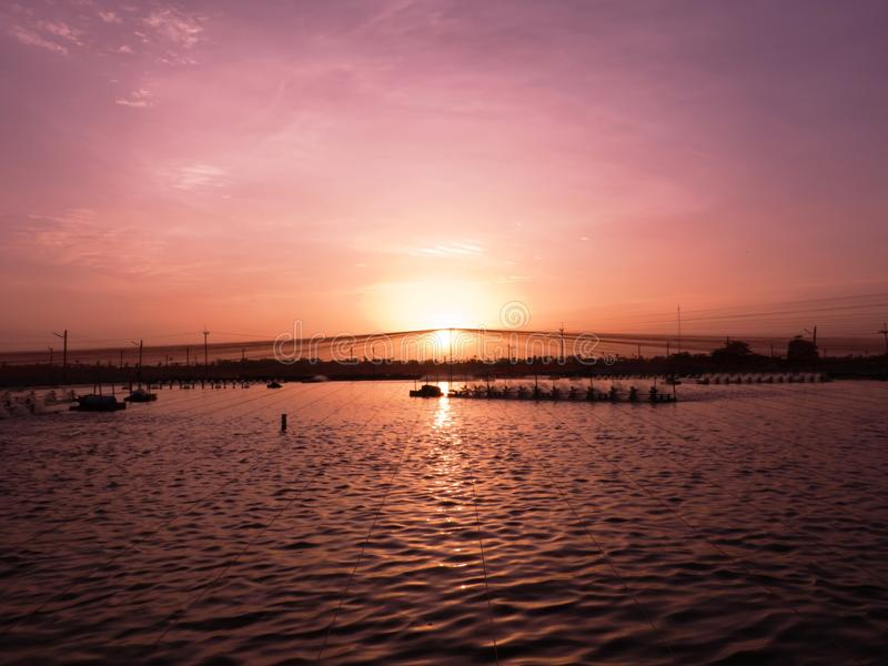 Download Sunset over Shrimp Pond stock photo. Image of bright - 25276520