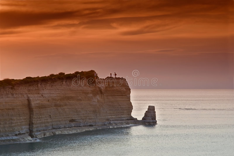 Sunset over Sidari at Corfu island royalty free stock images
