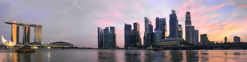 Download Sunset Over Singapore Skyline Panorama Stock Photo - Image: 30585652