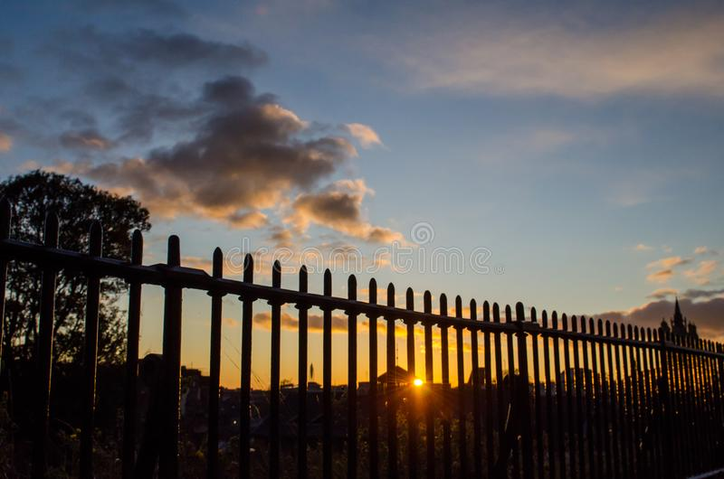 Norwich Sunset. Sunset over the skyline of Norwich, in the United Kingdom. The photo was taken from the location of the castle royalty free stock photos