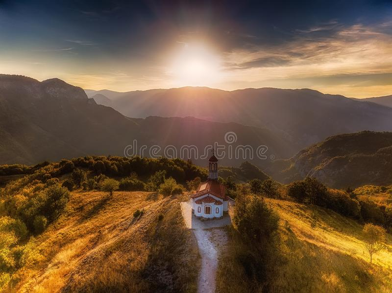 Sunset over small temple, bulgaria, europe stock photo