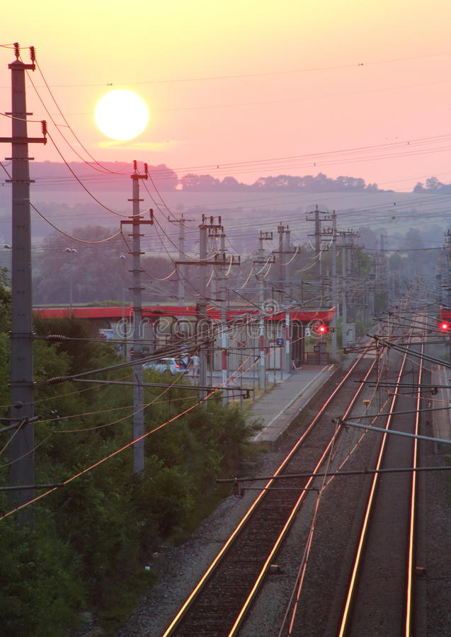 Sunset over Small Railwaystation stock image