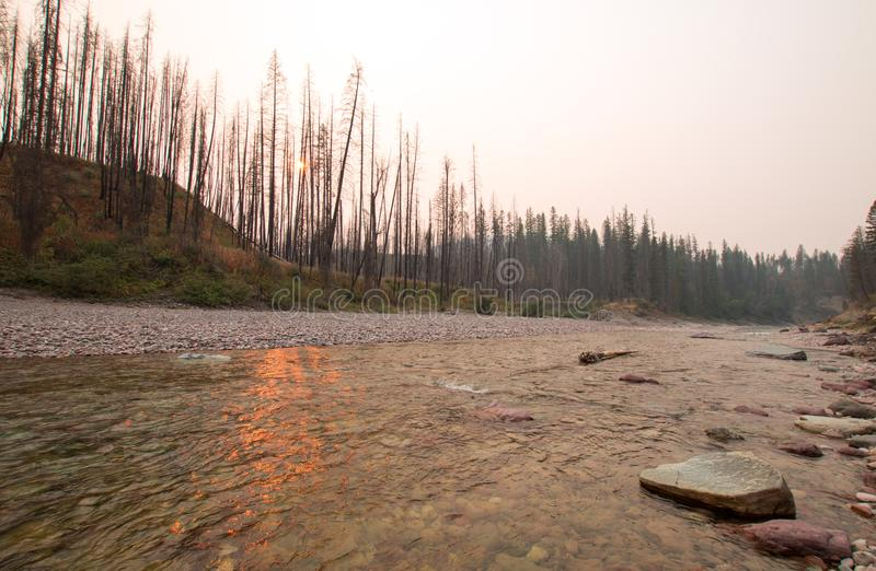 Sunset over the South Fork of the Flathead River at Meadow Creek Gorge in the Bob Marshall Wilderness complex - Montana USA. Sunset over the South Fork of the royalty free stock photography