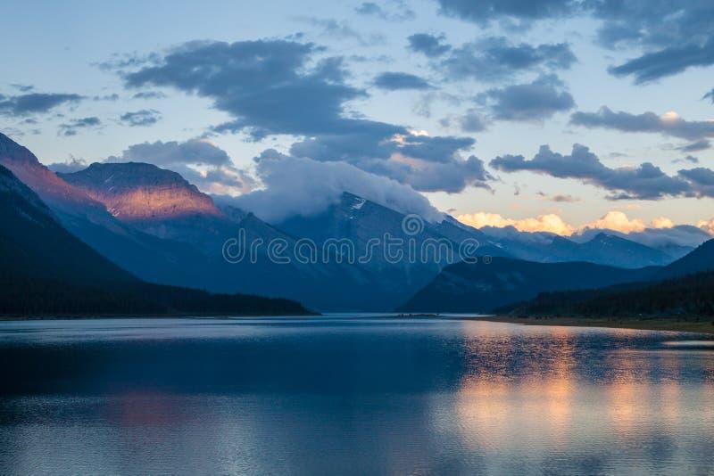 Sunset over Spray Lake in Spray Valley Provincial Park, Alberta stock image