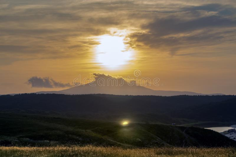 Sunset over the Strandja Mountain at the mouth of the Veleka River. royalty free stock photography