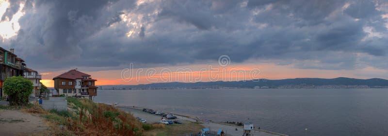Sunset over the Sunny Beach resort in Bulgaria stock photo