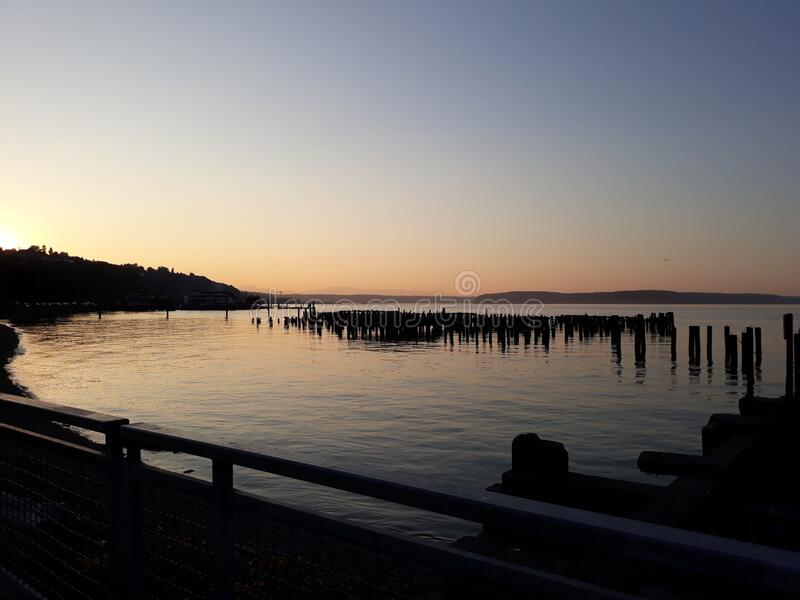 Sunset over Tacoma Waterfront royalty free stock image