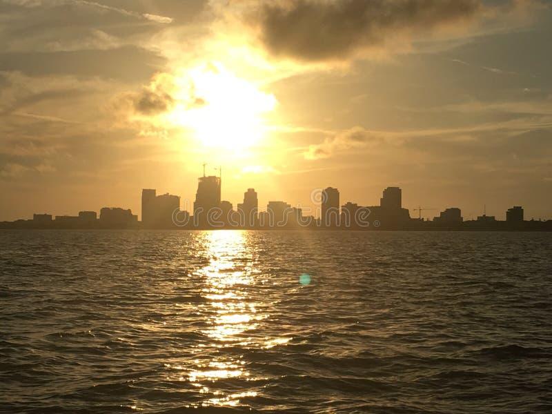 Sunset over Tampa bay stock photos