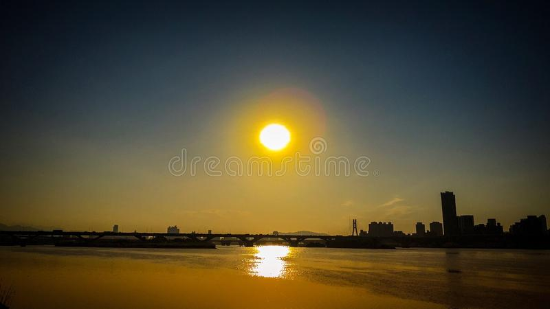 Sunset over Tamsui River pier, Taiwan royalty free stock photo