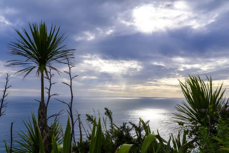 Sunset over Tasman Sea. Sun is about to set over the Tasman Sea near the coast of New Zealand stock photos