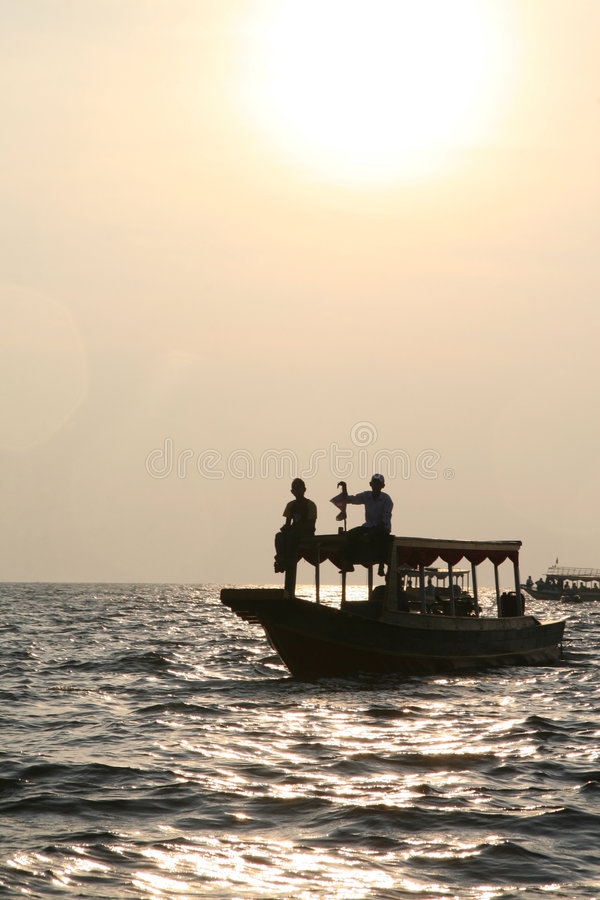 Sunset Over Tonle Sap Lake In Cambodia Royalty Free Stock Photo