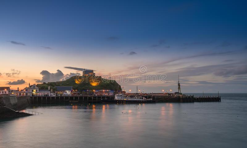 Sunset over the tourist town of Ilfracombe in Devon stock images