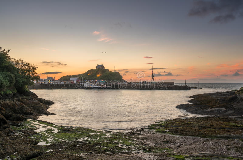 Sunset over the tourist town of Ilfracombe in Devon royalty free stock photos