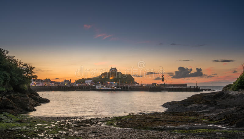 Sunset over the tourist town of Ilfracombe in Devon royalty free stock images