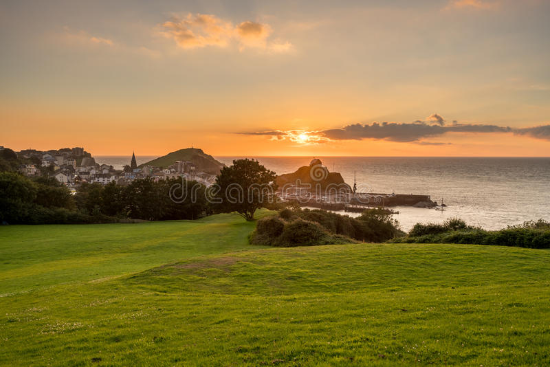 Sunset over the tourist town of Ilfracombe in Devon royalty free stock photo