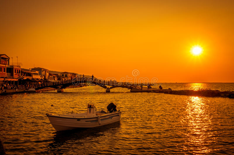 Sunset over town of Lefkas in Lefkada Island, Greece. stock photo
