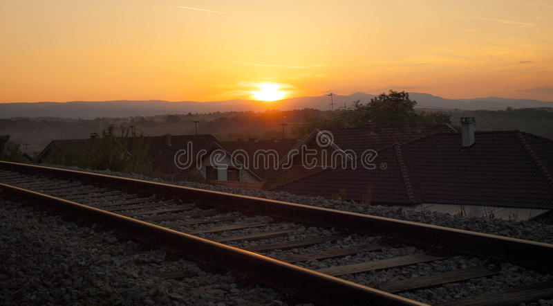 Sunset over the train rails in a park in Croatia. stock photography