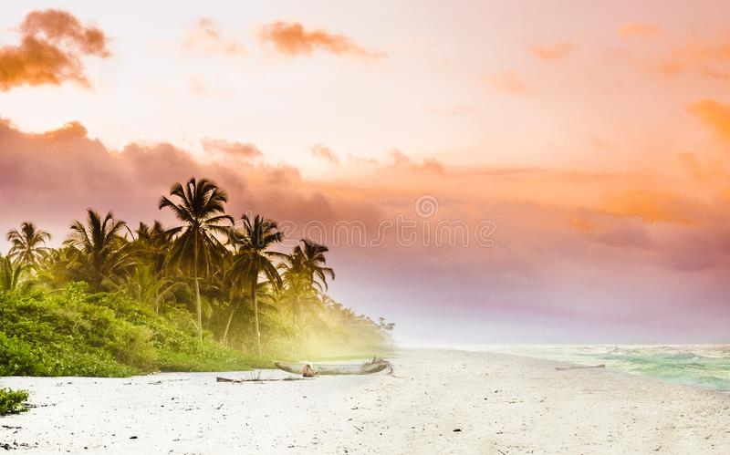 View over sunset over tropical beach by Palomino in Colombia royalty free stock photography