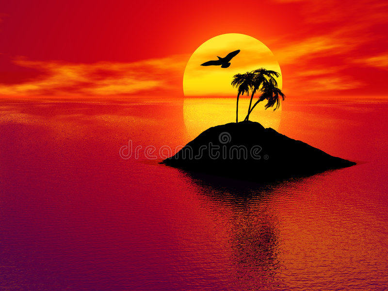 Download Sunset Over Tropical Island Stock Illustration - Illustration of outdoors, reflection: 2376638