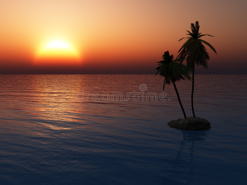 Sunset over tropical island royalty free stock image