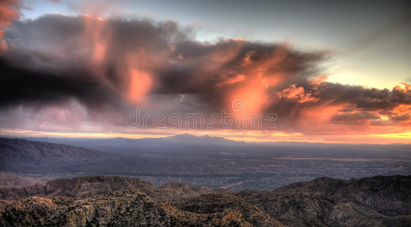 Sunset over Tucson. View from Windy Point on Mount Lemmon overlooking Tucson, Arizona royalty free stock photography