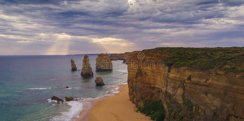 The sunset over the Twelve Apostles, Victoria,Australia royalty free stock photography