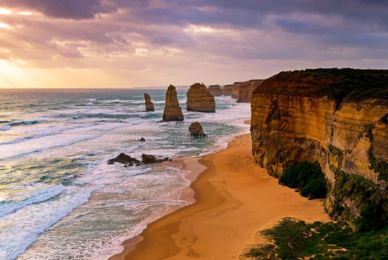 Sunset over Twelves Apostles Victoria, Australia stock photos