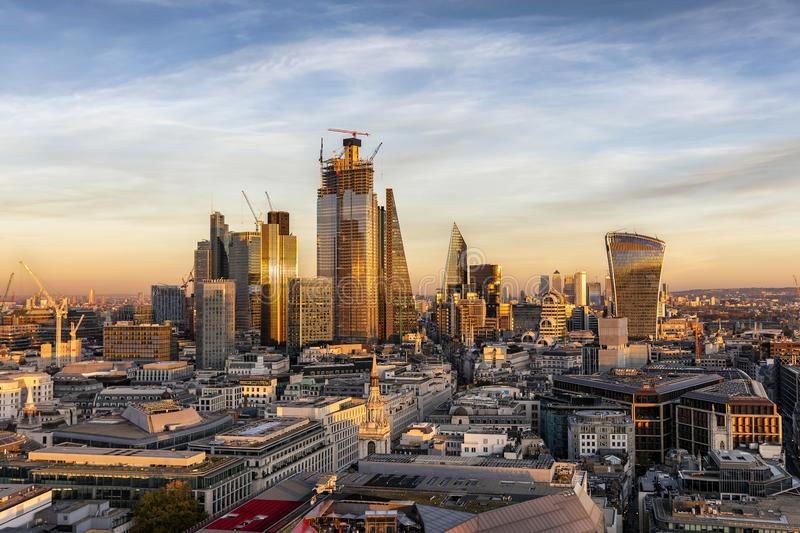 Sunset over the urban skyline of the City of London royalty free stock images