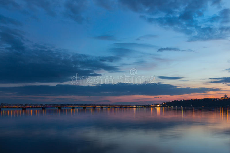 Sunset over Volga River during blue hour in Ulyanovsk stock photo