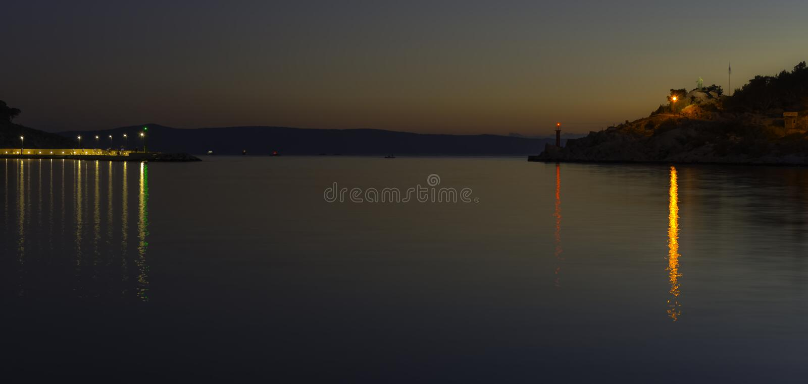 Sunset over waterfront and Adriatic Sea in Makarska, Dalmatia, Croatia. Sunset over waterfront and Adriatic Sea - Makarska, Dalmatia, Croatia royalty free stock photography