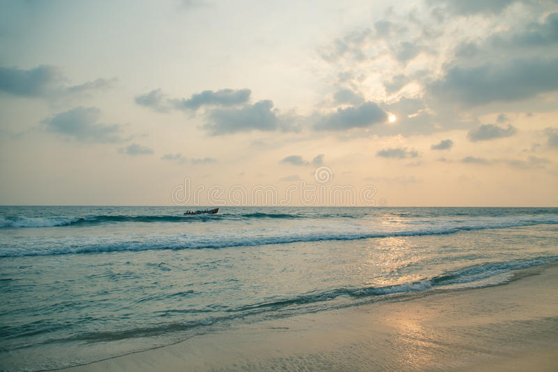 Sunset over the waters of the Indian Ocean. royalty free stock image