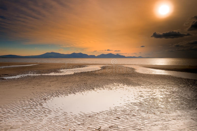 Sunset over welsh mountains stock image