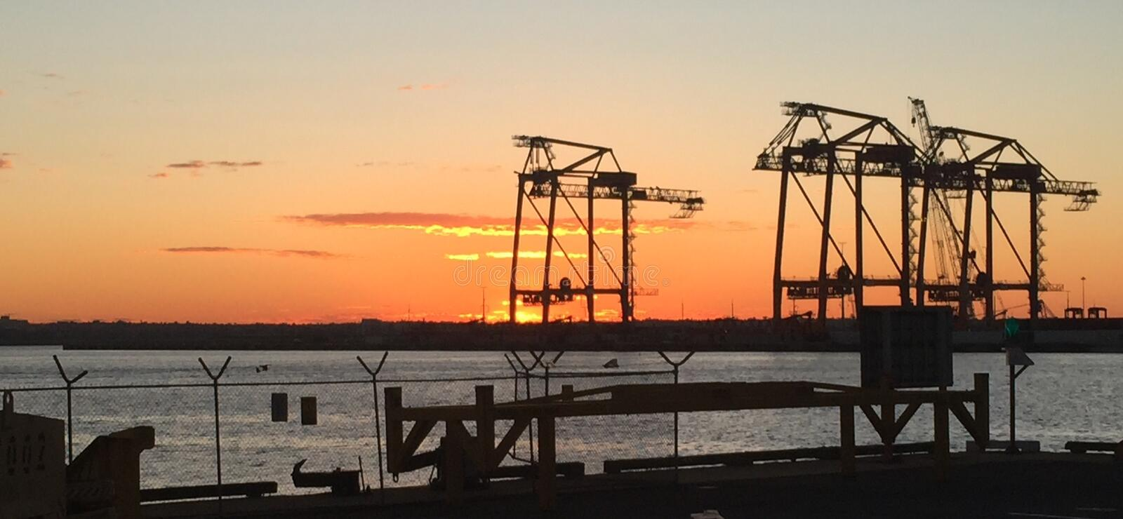 Sunset. Over a wharf stock photography