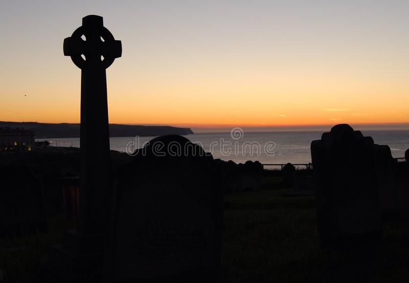 Sunset over Whitby royalty free stock photography