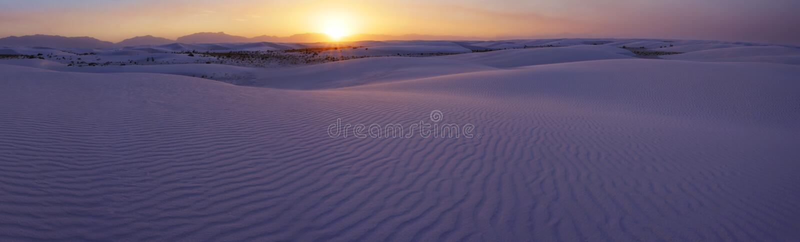 Sunset over the White Sands of New Mexico stock photos