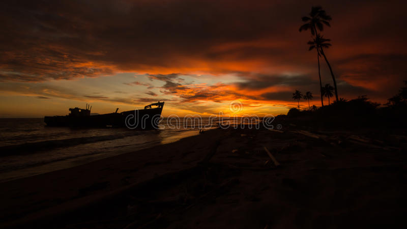 Sunset over the wreck royalty free stock images