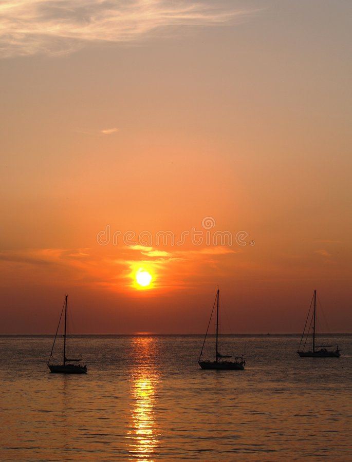 Sunset Over Yachts Royalty Free Stock Image