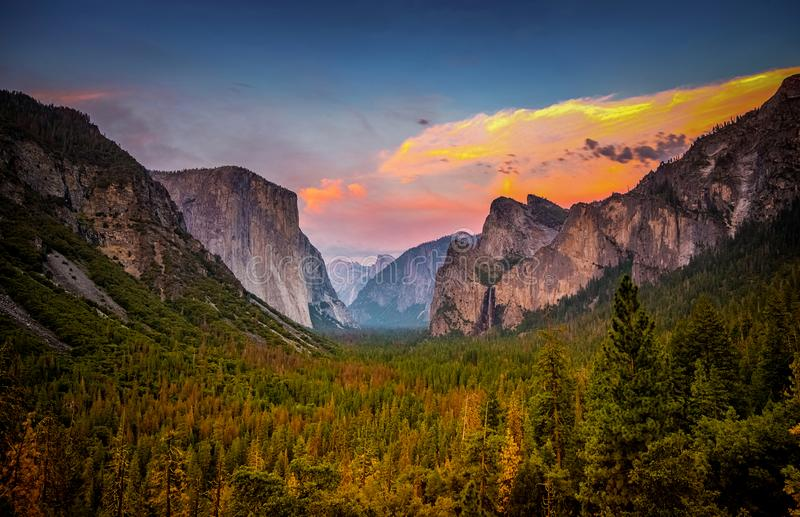 Sunset Over Yosemite National Park from Tunnel View. The Yosemite Valley at Sunset, as seen from Tunnel View royalty free stock image