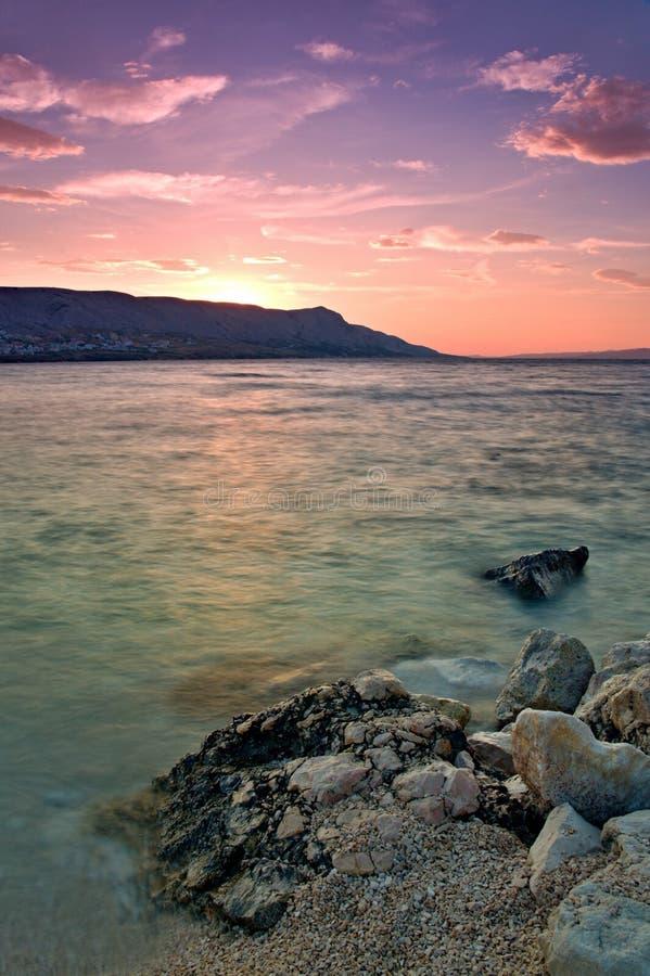 Sunset at Pag stock photos
