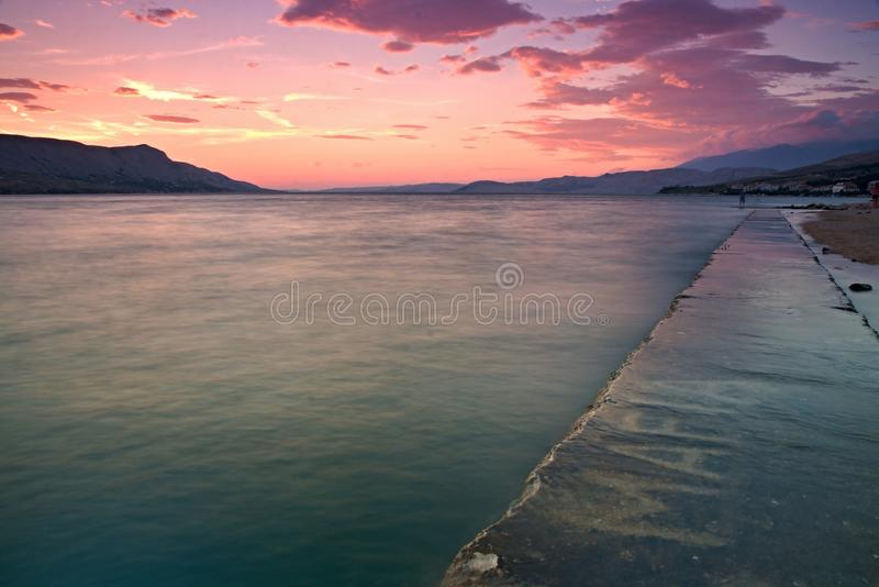Sunset at Pag stock image